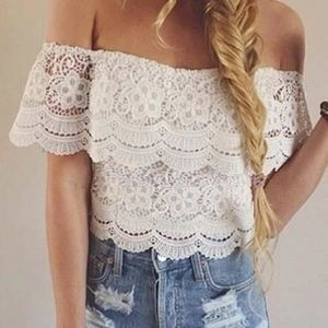 GLAMOROUS LACE OFF SHOULDERS TOP